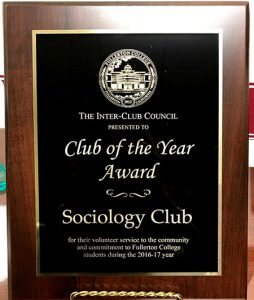 Sociology Club – 2016-17 Club of the Year Award